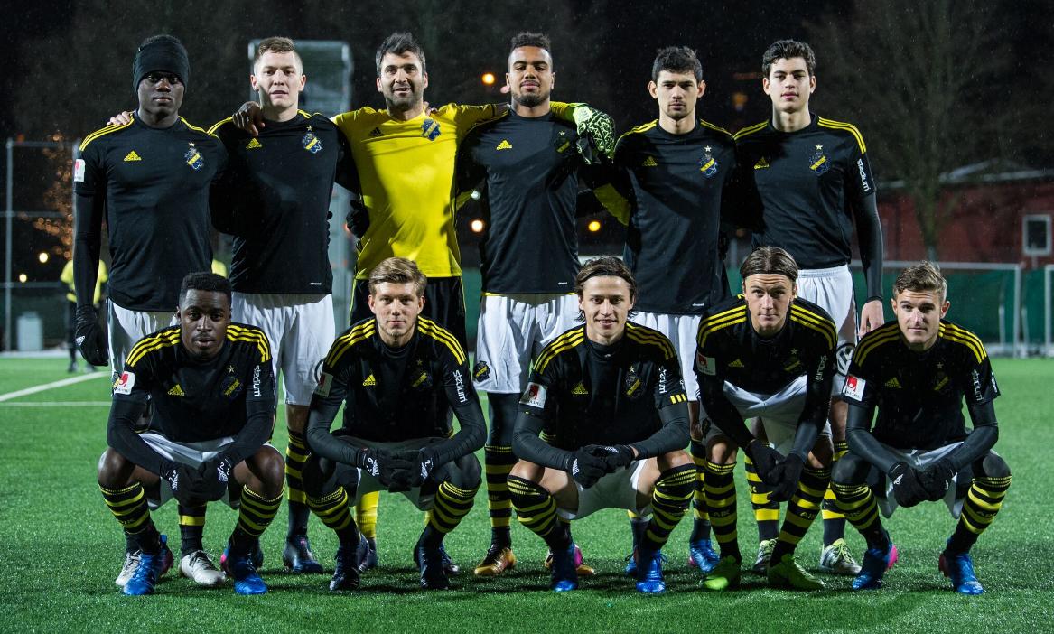 AIK:s startelva inför träningsmatchen mot Karlbergs BK (1-2) på Skytteholms IP i Solna den 22 februari 2017.