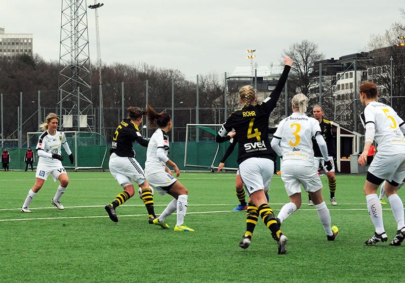 Premiär i Elitettan mellan AIK och Umeå IK FF på Skytteholms IP i Solna den 13 april 2017. Matchen slutade 0-2 inför 228 åskådare.