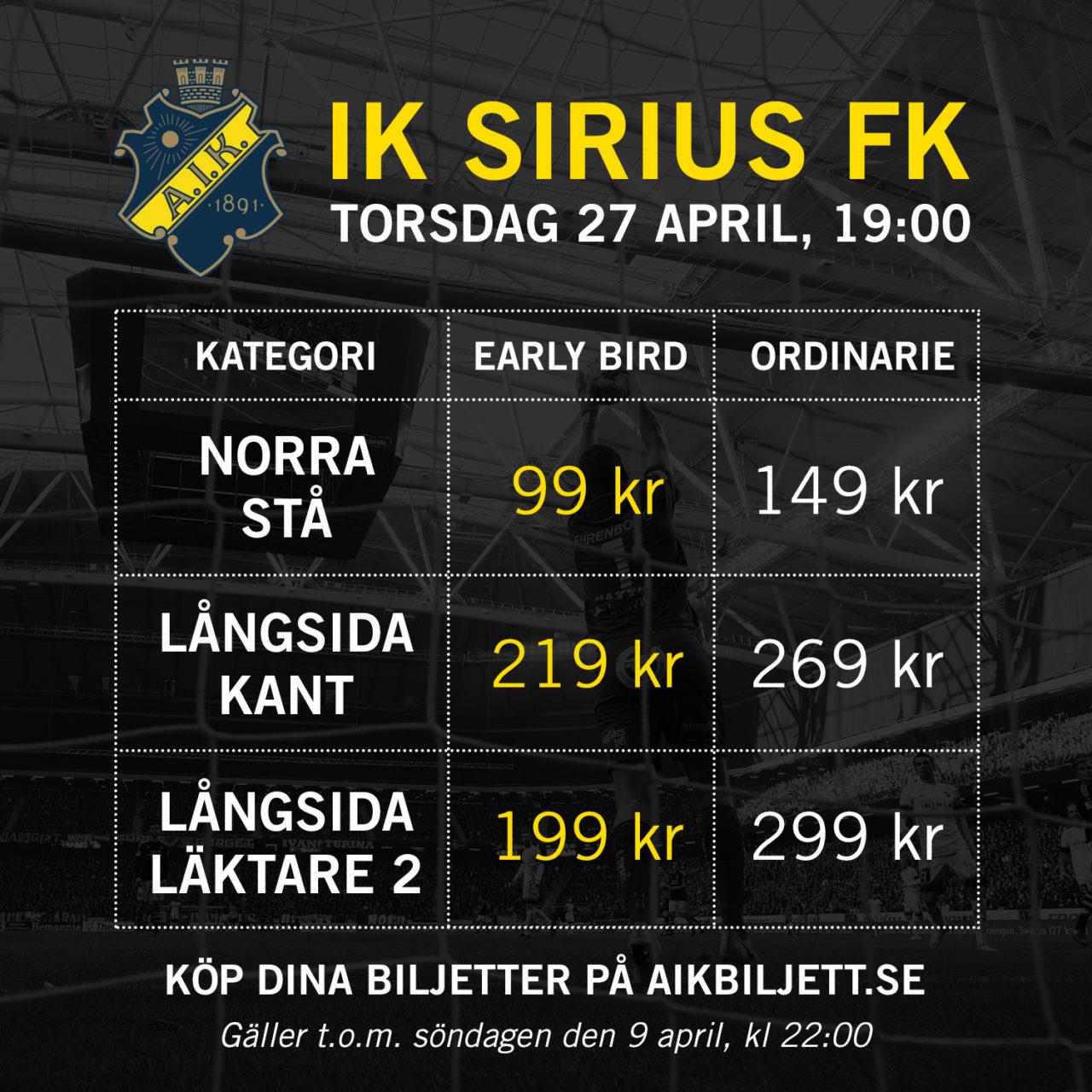 AIK-Sirius (Early Bird)