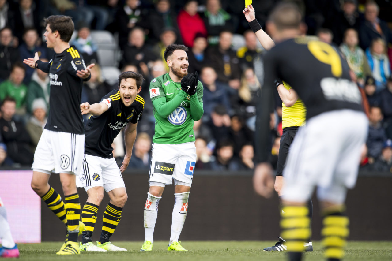 JONKOPING, SWEDEN - APRIL 22: Stefan Ishizaki of AIK reacts during the Allsvenskan match between Jonkopings Sodra IF and AIK at Stadsparksvallen on April 22, 2017 in Jonkoping, Sweden. (Photo by Jonas Gustafsson/Ombrello via Getty Images)
