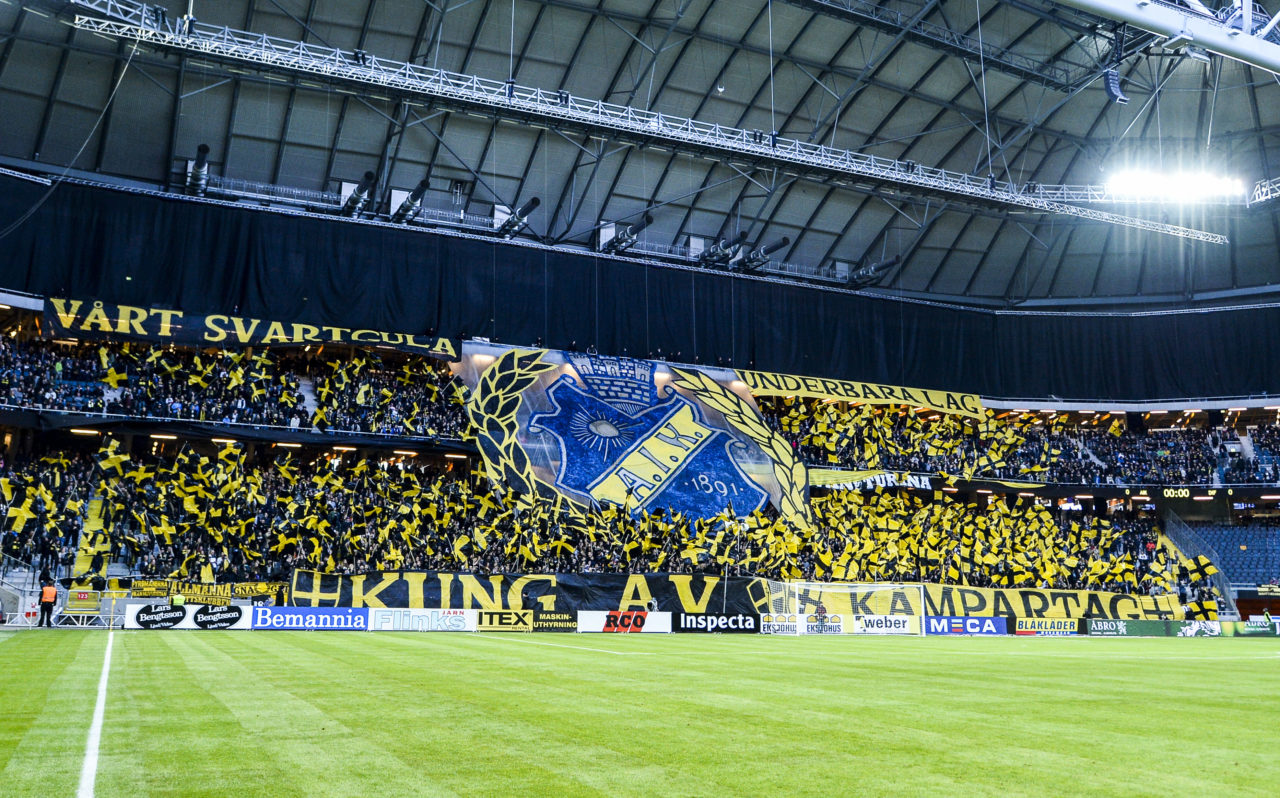 SOLNA, SWEDEN - MAY 16: Tifo by supporter od AIK during the Allsvenskan match between AIK and Djurgarden IF at Friends arena on May 16, 2016 in Solna, Sweden. (Photo by Marcus Ericsson/Ombrello via Getty Images)