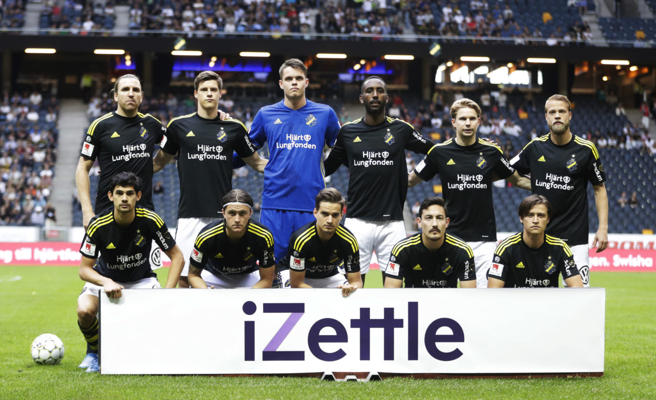 SOLNA, SWEDEN - JULY 02: Nils-Eric Johansson, Sauli Vaisanen, Oscar Linner, Henok Goitom, Johan Blomberg, Daniel Sundgren, Jesper Nyholm, Kristoffer Olsson, Amin Affane, Stefan Ishizaki and Simon Thern of AIK during the Allsvenskan match between AIK and Ostersunds FK at Friends arena on July 2, 2017 in Solna, Sweden. (Photo by Nils Petter Nilsson/Ombrello via Getty Images)