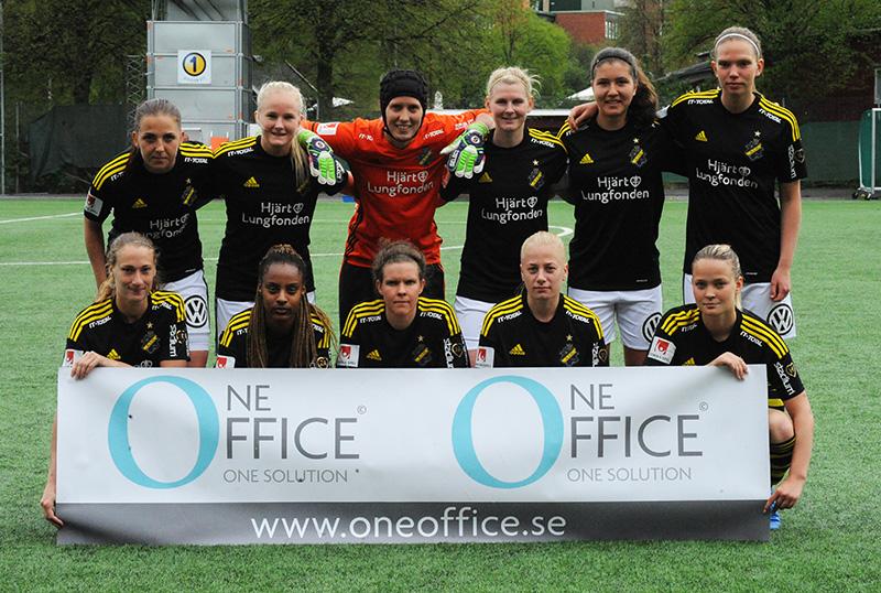 AIK:s startelva i matchen AIK - Växjö DFF (1-3) i Elitettan på Skytteholms IP i Solna.