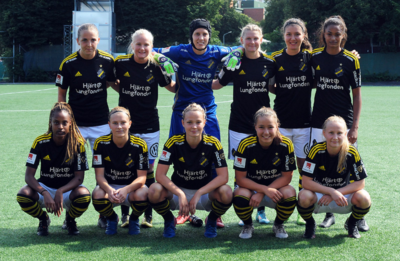 AIK:s startelva i matchen AIK - Mallbackens IF (1-0) i Elitettan på Skytteholms IP i Solna.