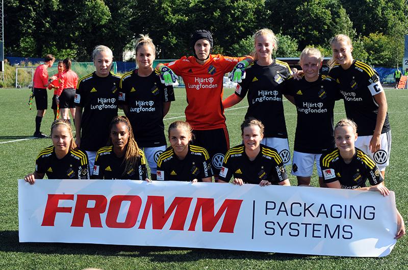 AIK:s startelva i matchen AIK - Sundsvalls DFF (3-0) i Elitettan på Skytteholms IP i Solna.