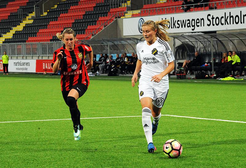 AIK:s Amanda Nildén i matchen IF Brommapojkarna - AIK (0-1) i Svenska cupen på Grimsta IP.