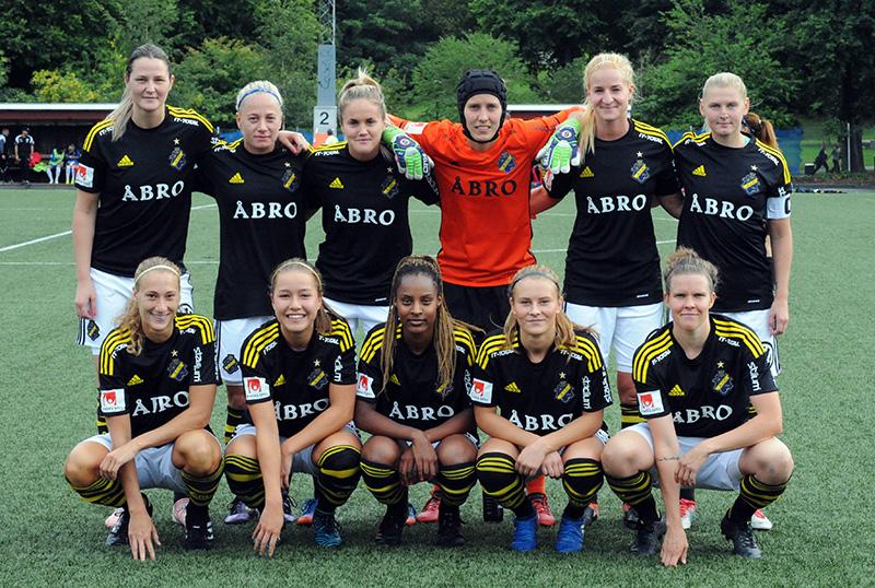 AIK:s startelva i matchen AIK - IFK Kalmar (4-3) i Elitettan på Skytteholms IP i Solna.