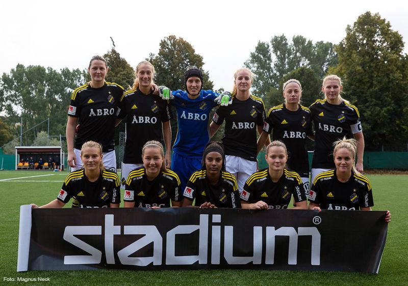 AIK:s startelva i matchen AIK - Östersunds DFF i Elitettan den 30 september 2017 på Skytteholms IP.