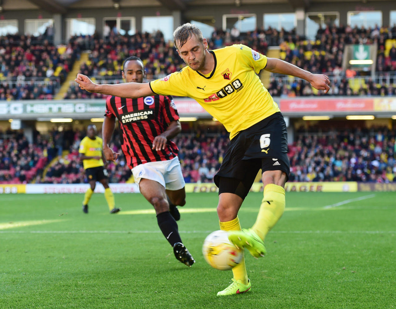 "141004, Fotboll, Joel Ekstrand, Watford: Football - Watford v Brighton & Hove Albion - Sky Bet Football League Championship - Vicarage Road - 14/15 - 4/10/14 Watford's Joel Ekstrand (R) in action Mandatory Credit: Action Images / Alex Broadway  EDITORIAL USE ONLY. No use with unauthorized audio, video, data, fixture lists, club/league logos or ""live"" services. Online in-match use limited to 45 images, no video emulation. No use in betting, games or single club/league/player publications.  Please contact your account representative for further details.   © BildbyrŒn - COP 7 - SWEDEN ONLY"
