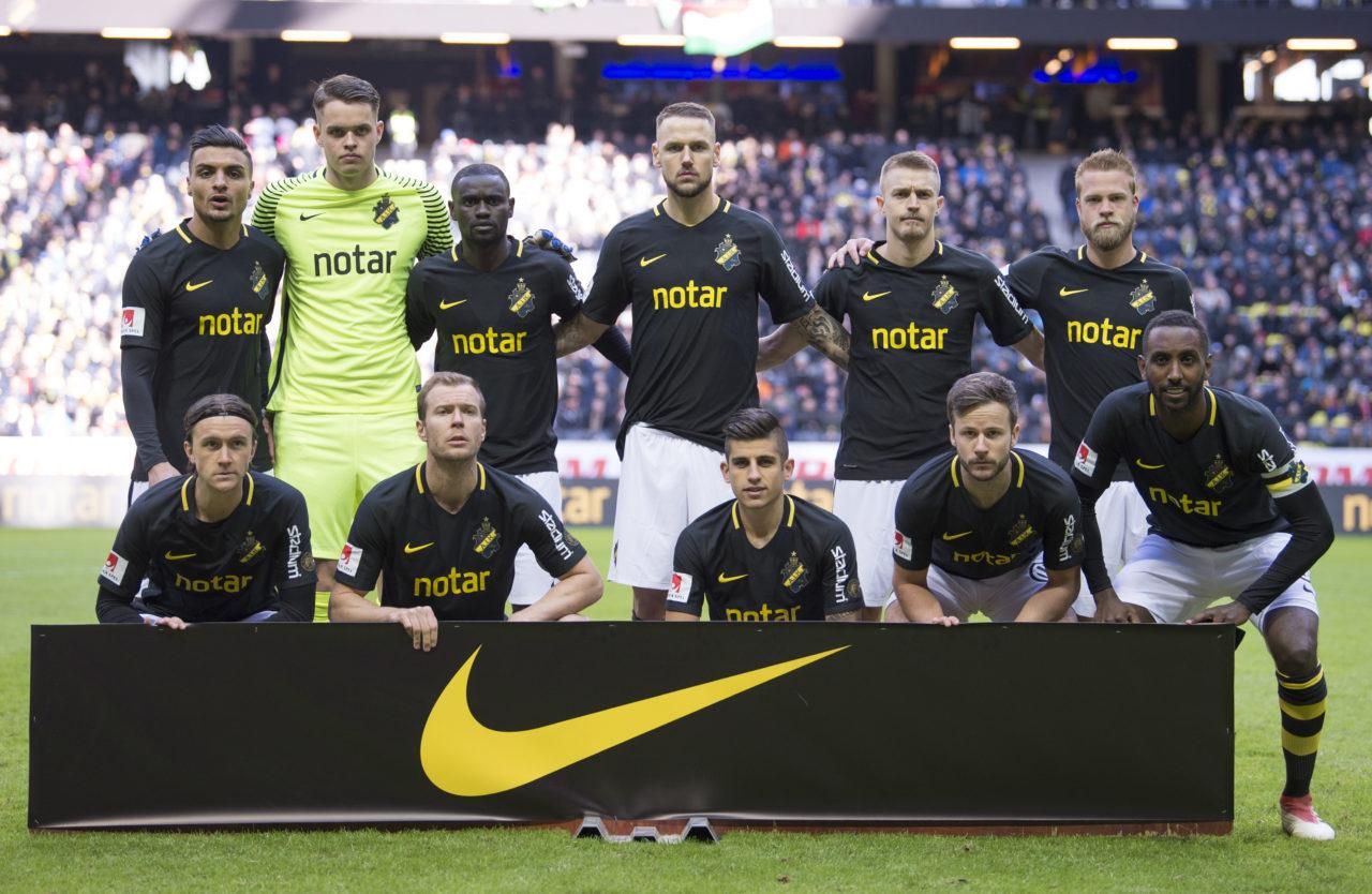 180402 AIK:s startelva infšr fotbollsmatchen i Allsvenskan mellan AIK och Dalkurd den 2 april 2018 i Stockholm. Foto: JESPER ZERMAN / BILDBYRN STR / *** BETALBILD ***