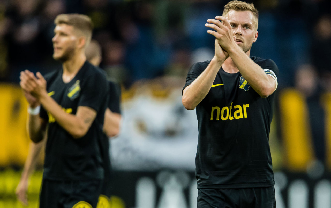 190717 Sebastian Larsson of AIK after the UEFA Champions League qualifying match between AIK and Ararat-Armenia on July 17, 2019 in Stockholm. Foto: Andreas L Eriksson / Bildbyrån / kod AE / Cop 106
